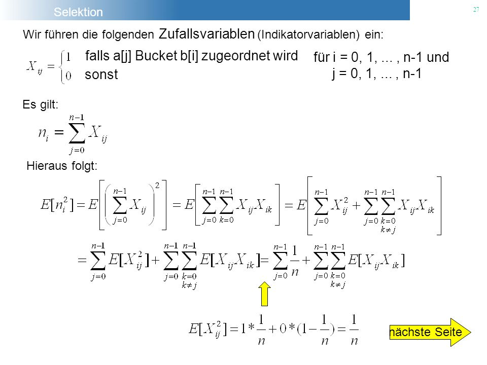 falls a[j] Bucket b[i] zugeordnet wird sonst